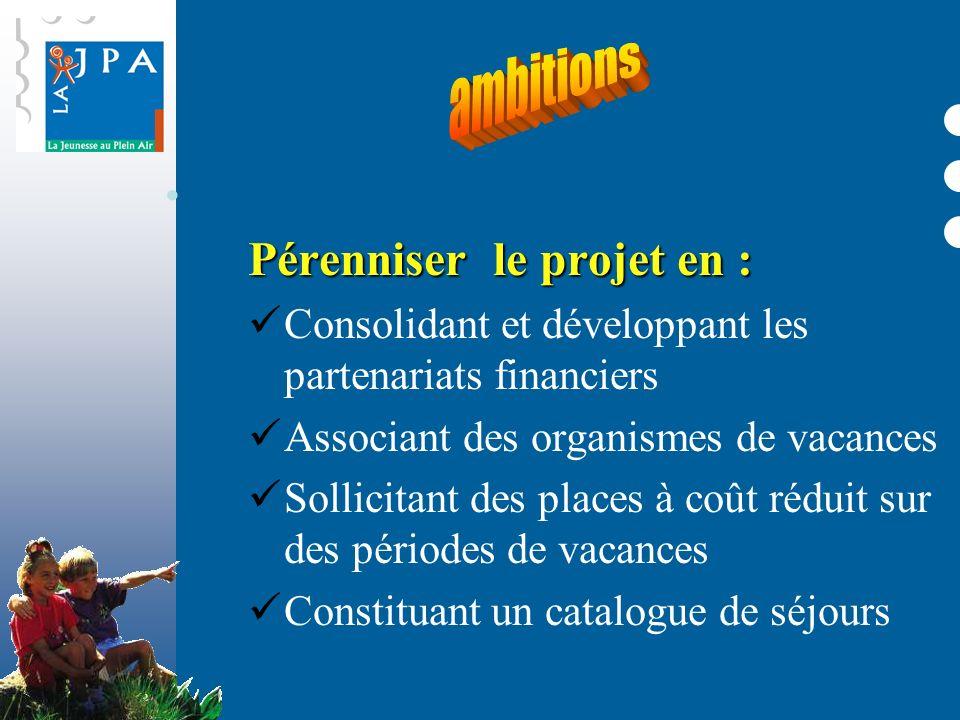 Pérenniser le projet en : Consolidant et développant les partenariats financiers Associant des organismes de vacances Sollicitant des places à coût ré