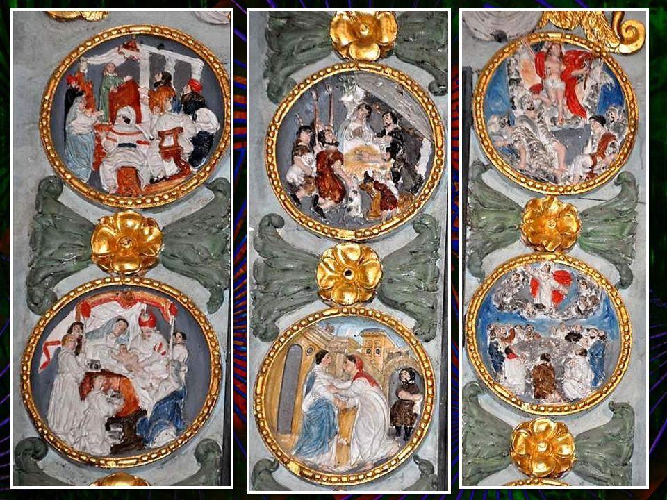 Retable du Rosaire (XVIIème siècle) : La Vierge, saint Dominique et sainte Catherine de Sienne. Dans les «médaillons», les mystères du Rosaire. Colonn