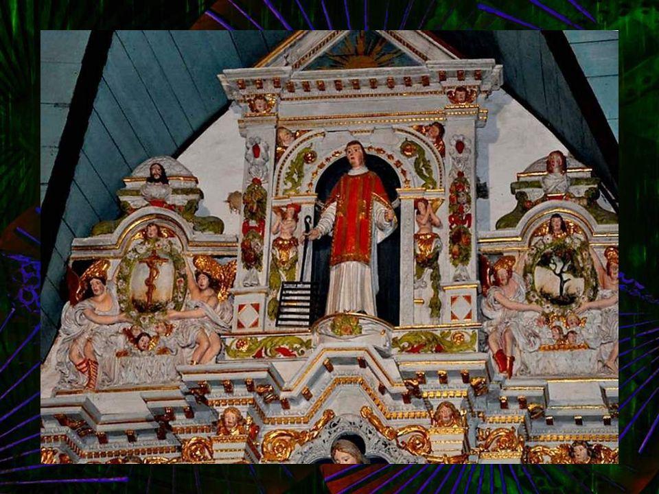 Retable St-Joseph : (voir diapositives précédentes) : Sainte Anne et sainte Elisabeth. Saint Laurent et son gril. Arbre du Bien et du Mal. Colonnes ri