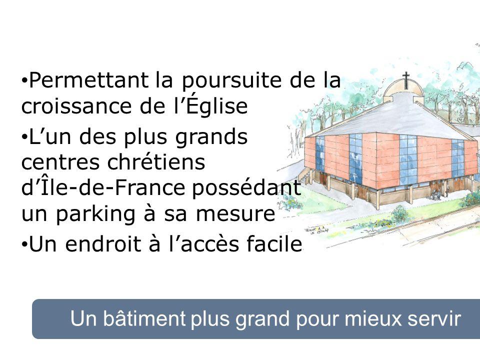 Un bâtiment plus grand pour mieux servir Permettant la poursuite de la croissance de lÉglise Lun des plus grands centres chrétiens dÎle-de-France possédant un parking à sa mesure Un endroit à laccès facile