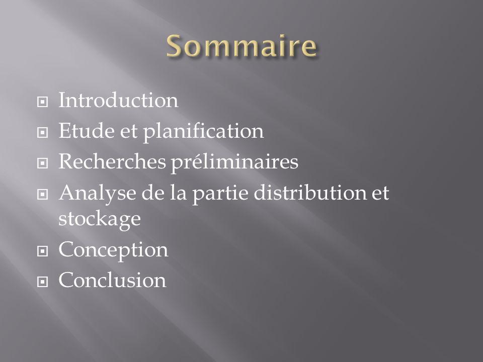 Introduction Etude et planification Recherches préliminaires Analyse de la partie distribution et stockage Conception Conclusion