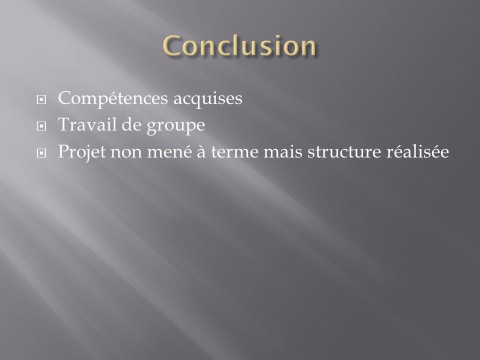 Compétences acquises Travail de groupe Projet non mené à terme mais structure réalisée
