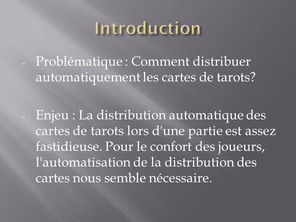 - Problématique : Comment distribuer automatiquement les cartes de tarots? - Enjeu : La distribution automatique des cartes de tarots lors d'une parti