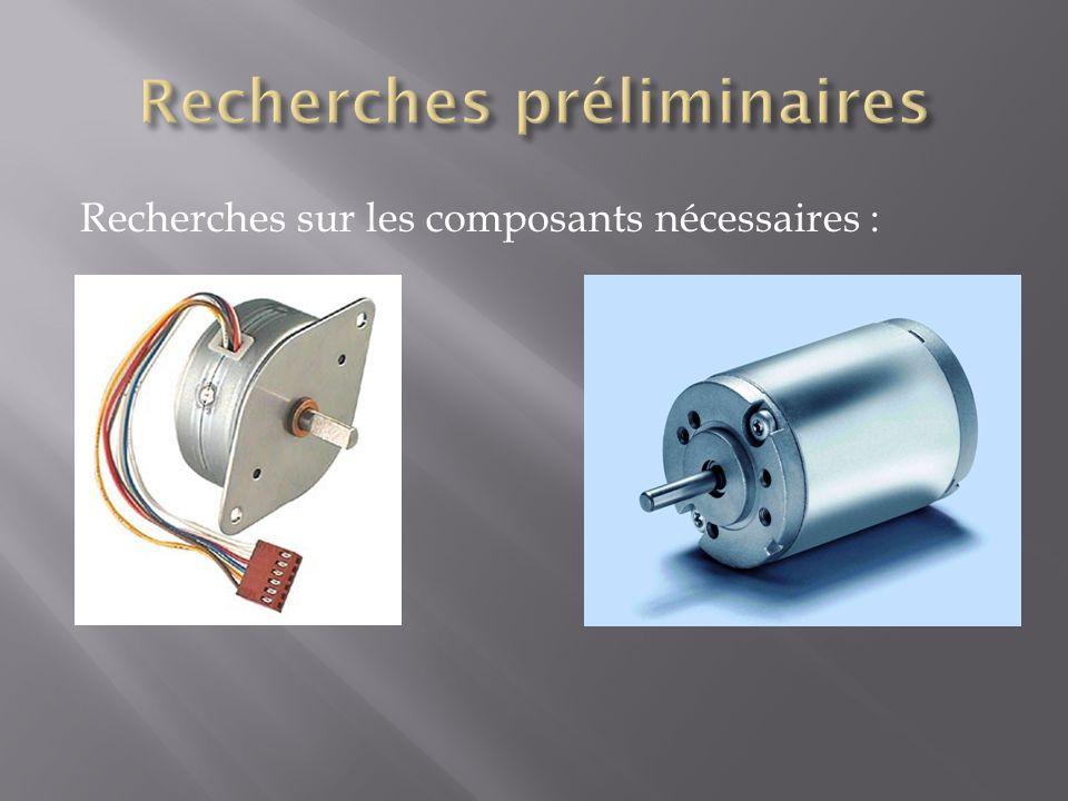 Recherches sur les composants nécessaires :