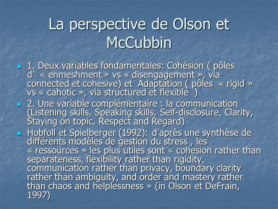 La perspective de Olson et McCubbin 1. Deux variables fondamentales: Cohésion ( pôles d « enmeshment » vs « disengagement », via connected et cohesive