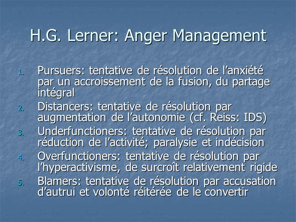 H.G. Lerner: Anger Management 1. Pursuers: tentative de résolution de lanxiété par un accroissement de la fusion, du partage intégral 2. Distancers: t