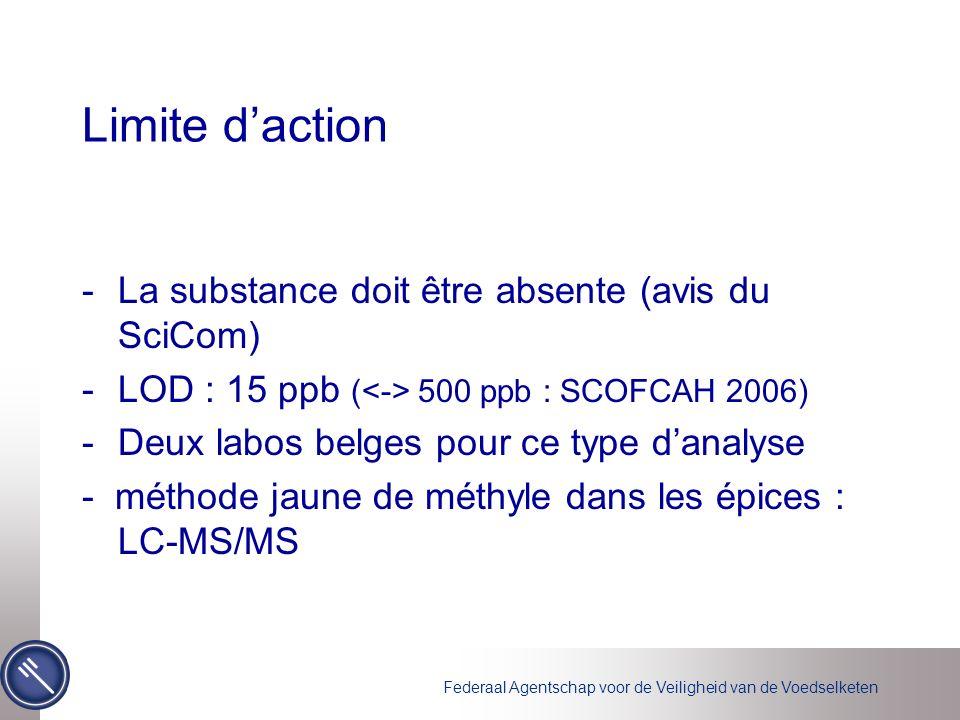 Federaal Agentschap voor de Veiligheid van de Voedselketen Limite daction -La substance doit être absente (avis du SciCom) -LOD : 15 ppb ( 500 ppb : SCOFCAH 2006) -Deux labos belges pour ce type danalyse - méthode jaune de méthyle dans les épices : LC-MS/MS
