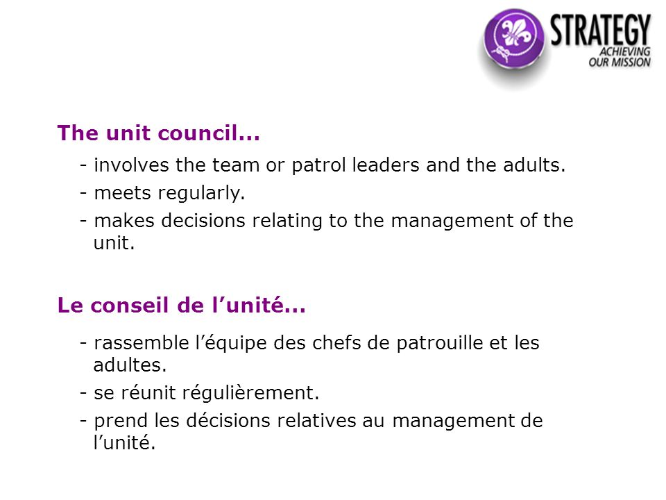 The unit council... - involves the team or patrol leaders and the adults.