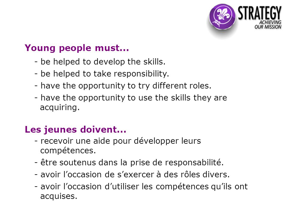 Young people must... - be helped to develop the skills.