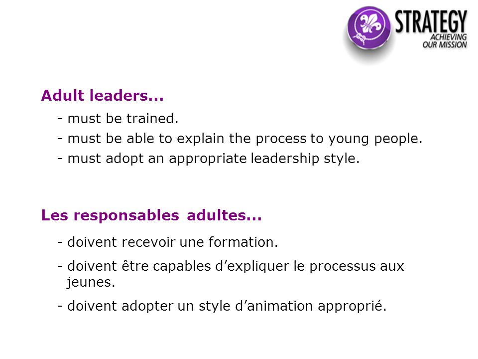 Adult leaders... - must be trained. - must be able to explain the process to young people.