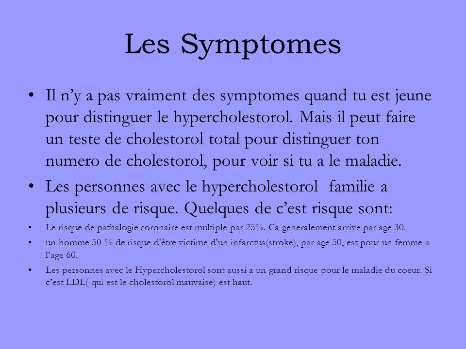 Les Symptomes Il ny a pas vraiment des symptomes quand tu est jeune pour distinguer le hypercholestorol. Mais il peut faire un teste de cholestorol to