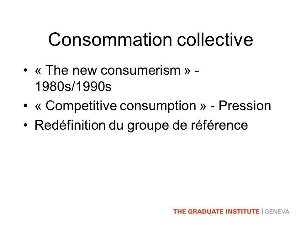 Consommation collective « The new consumerism » - 1980s/1990s « Competitive consumption » - Pression Redéfinition du groupe de référence