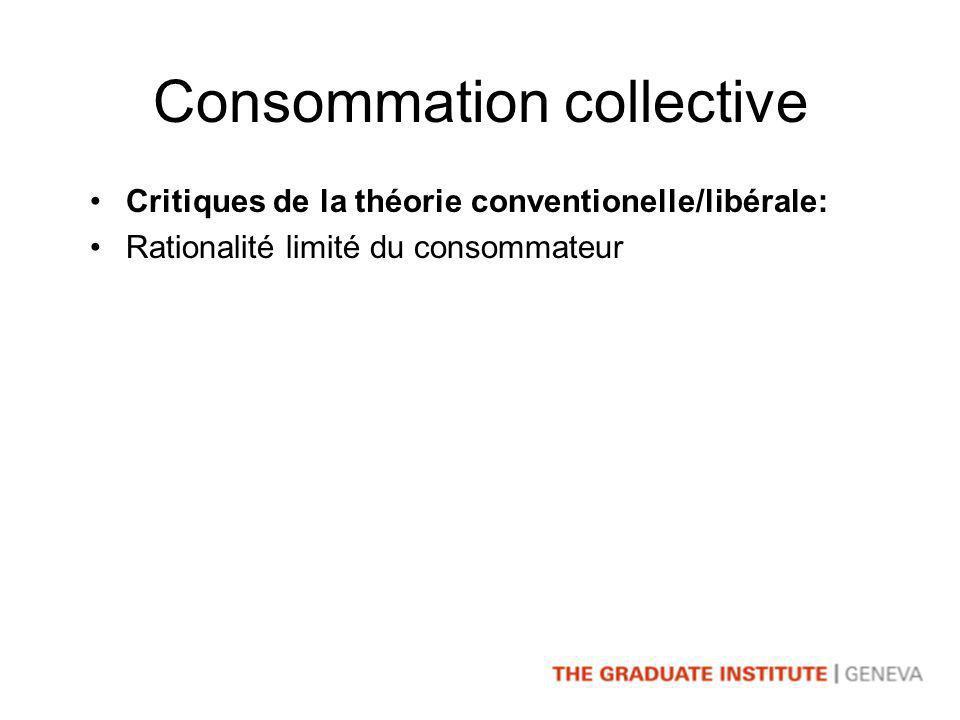 Consommation collective Critiques de la théorie conventionelle/libérale: Rationalité limité du consommateur