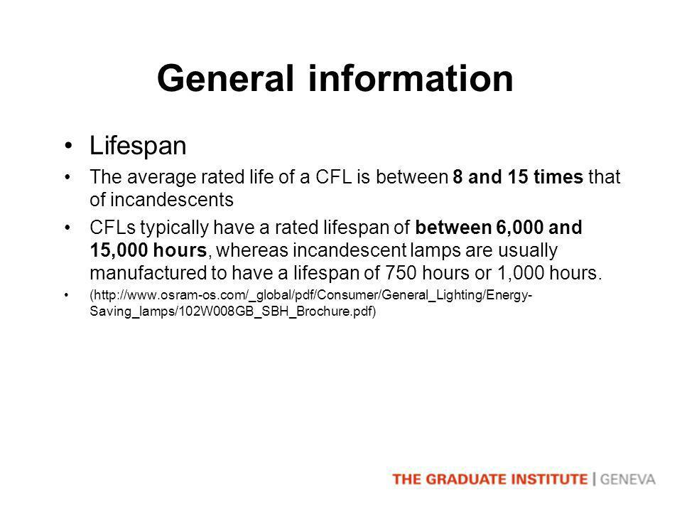 General information Lifespan The average rated life of a CFL is between 8 and 15 times that of incandescents CFLs typically have a rated lifespan of between 6,000 and 15,000 hours, whereas incandescent lamps are usually manufactured to have a lifespan of 750 hours or 1,000 hours.