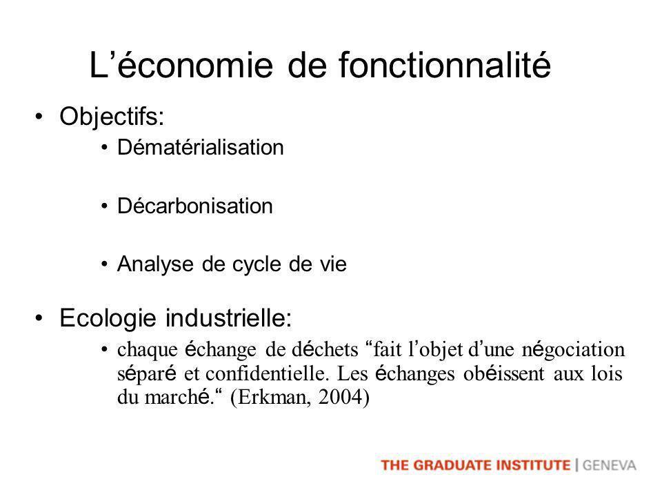 Léconomie de fonctionnalité Objectifs: Dématérialisation Décarbonisation Analyse de cycle de vie Ecologie industrielle: chaque é change de d é chets fait l objet d une n é gociation s é par é et confidentielle.