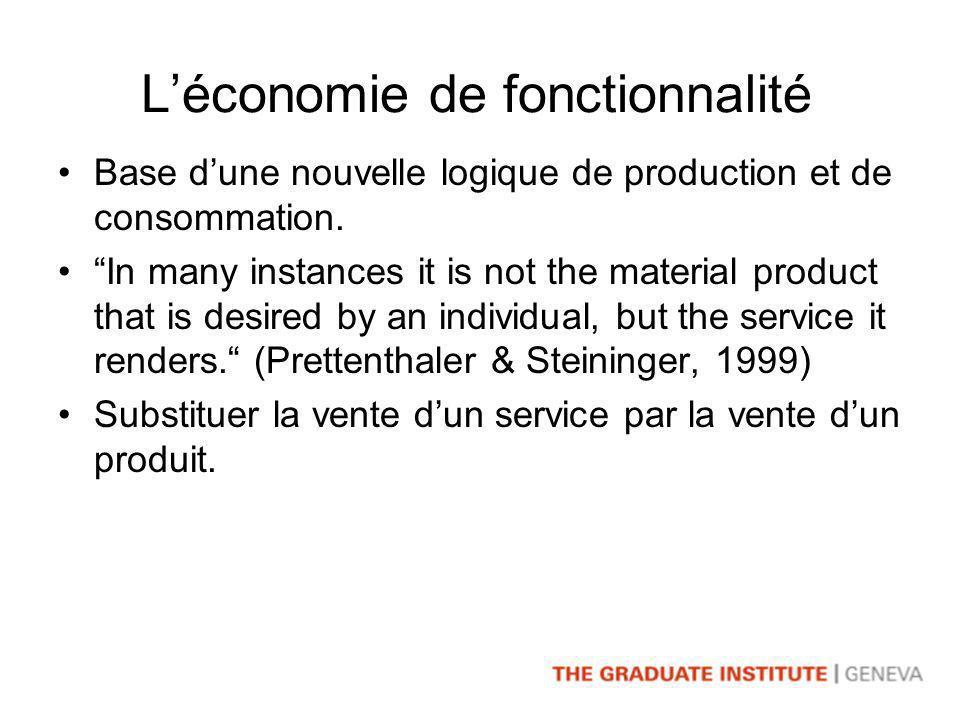 Léconomie de fonctionnalité Base dune nouvelle logique de production et de consommation.