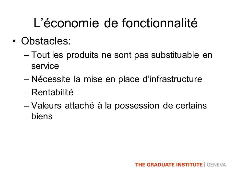 Léconomie de fonctionnalité Obstacles: –Tout les produits ne sont pas substituable en service –Nécessite la mise en place dinfrastructure –Rentabilité –Valeurs attaché à la possession de certains biens