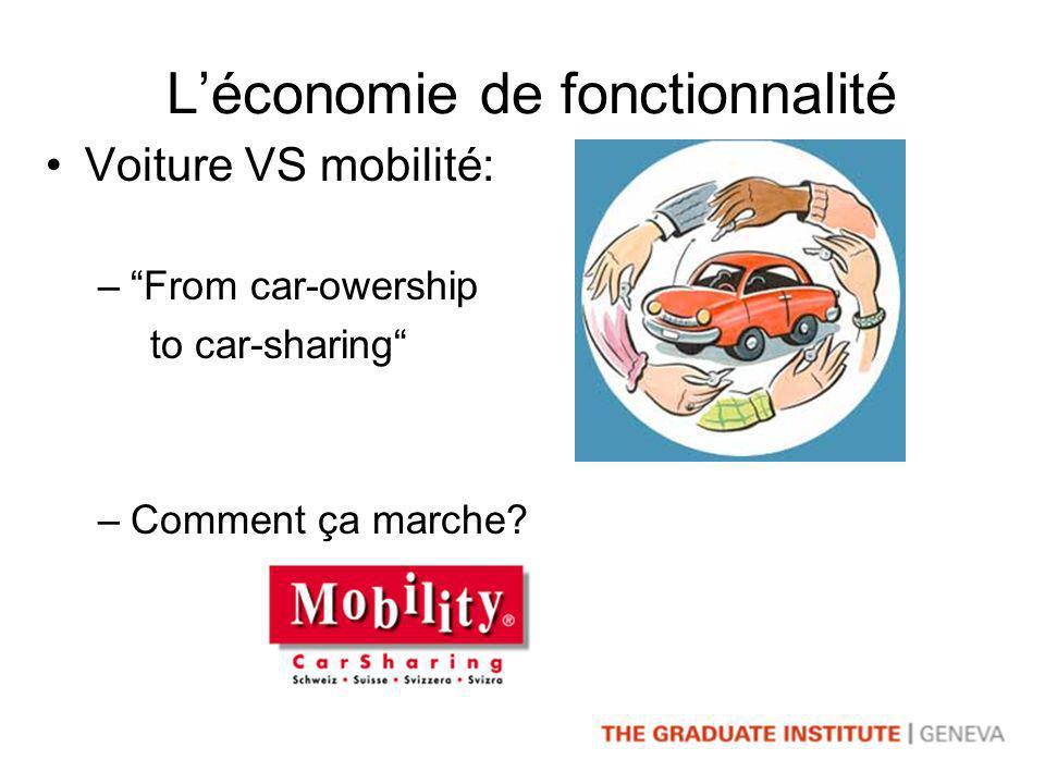 Léconomie de fonctionnalité Voiture VS mobilité: –From car-owership to car-sharing –Comment ça marche