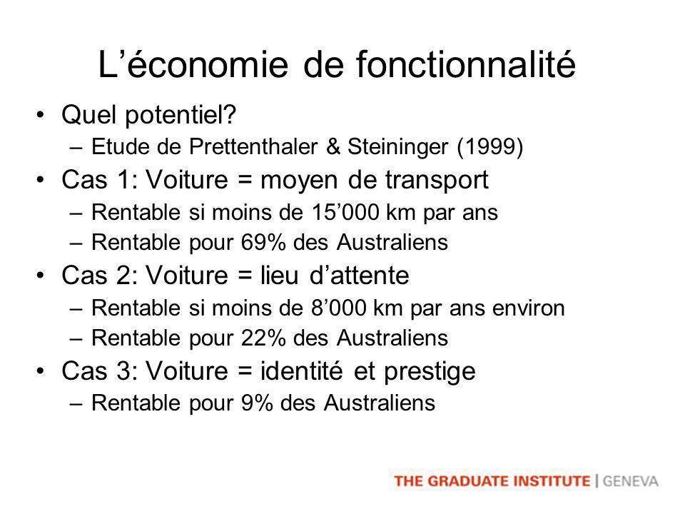 Léconomie de fonctionnalité Quel potentiel.