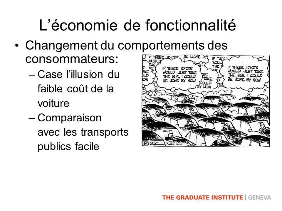 Léconomie de fonctionnalité Changement du comportements des consommateurs: –Case lillusion du faible coût de la voiture –Comparaison avec les transports publics facile