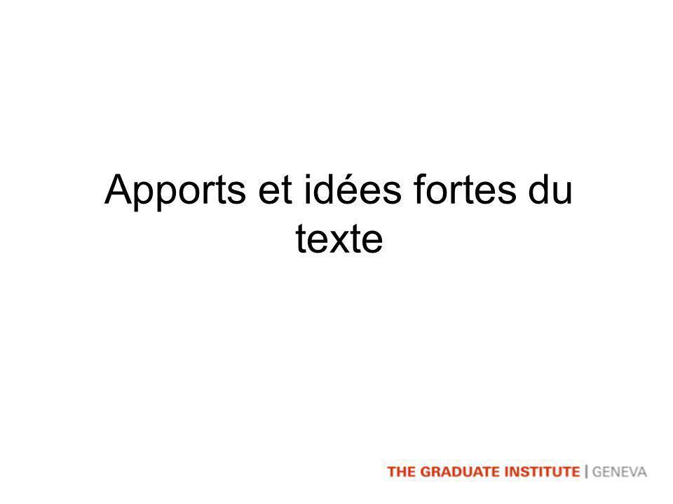 Apports et idées fortes du texte