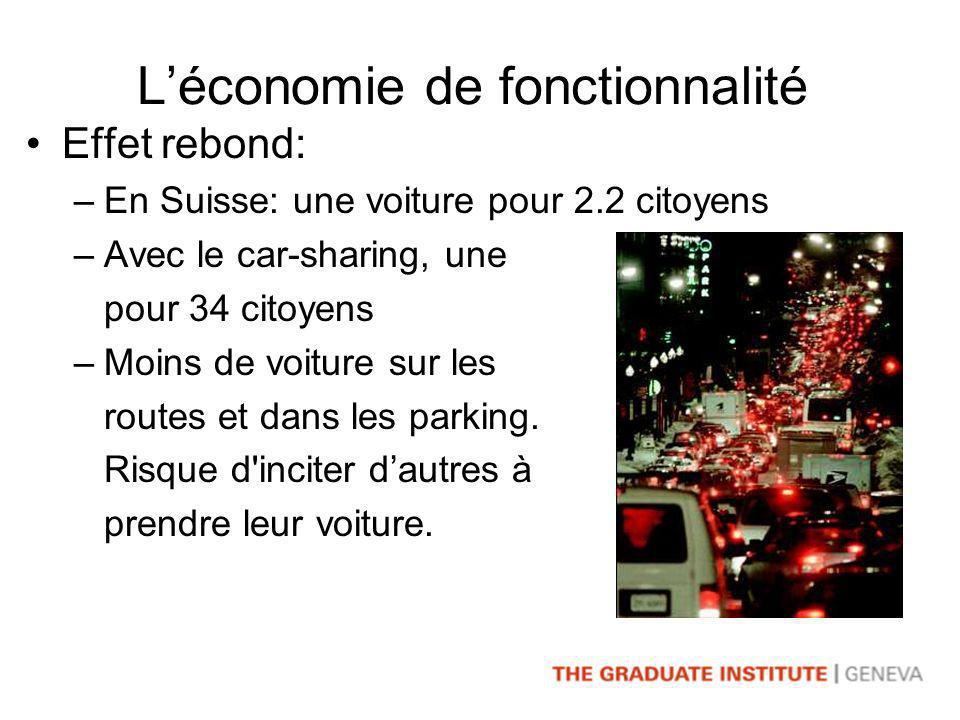 Léconomie de fonctionnalité Effet rebond: –En Suisse: une voiture pour 2.2 citoyens –Avec le car-sharing, une pour 34 citoyens –Moins de voiture sur les routes et dans les parking.