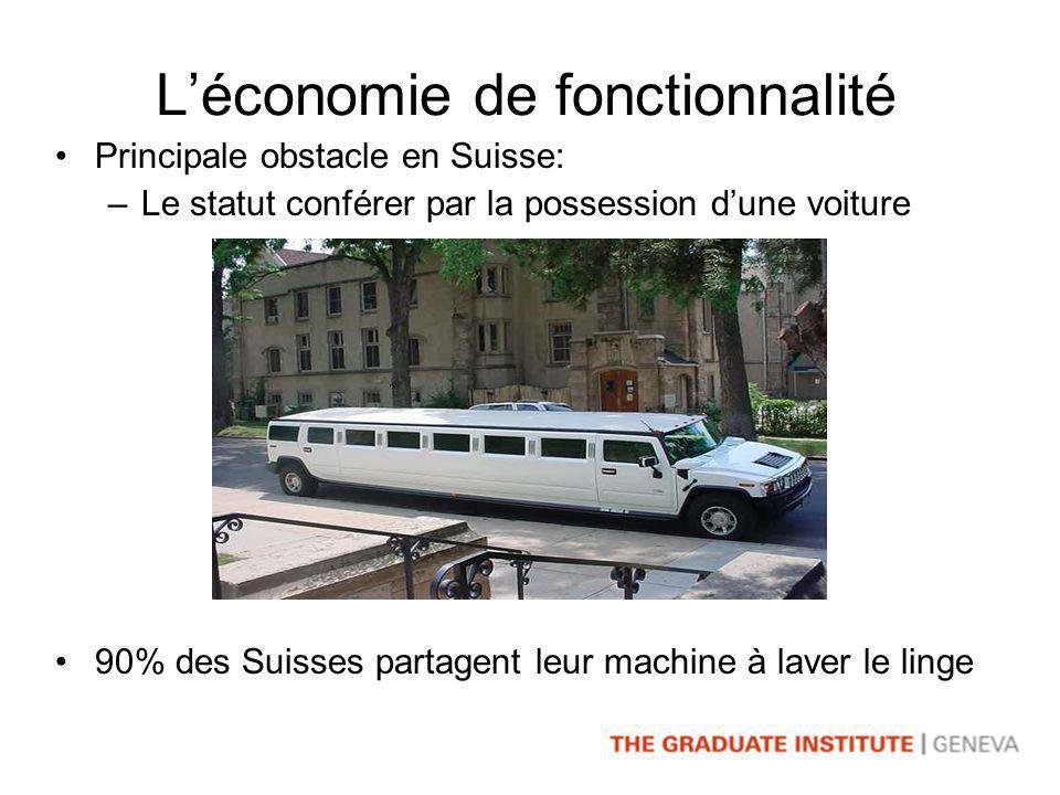 Léconomie de fonctionnalité Principale obstacle en Suisse: –Le statut conférer par la possession dune voiture 90% des Suisses partagent leur machine à laver le linge