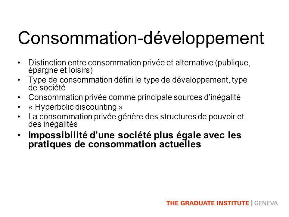 Consommation=problème Ce nest plus un problème dinégalité de revenu: la consommation fait partie du problème Il faut déconstruire la consommation Il faut construire des nouvelles normes collective pour la consommation Bases pour une nouvelle consommation et un nouveau style de vie
