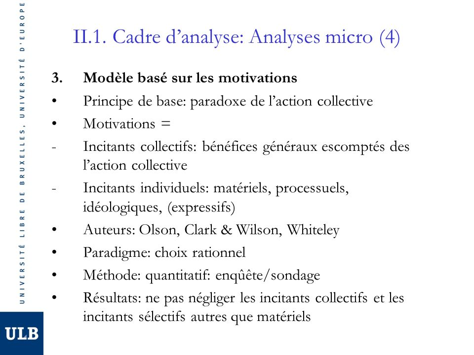 II.1. Cadre danalyse: Analyses micro (4) 3.Modèle basé sur les motivations Principe de base: paradoxe de laction collective Motivations = -Incitants c