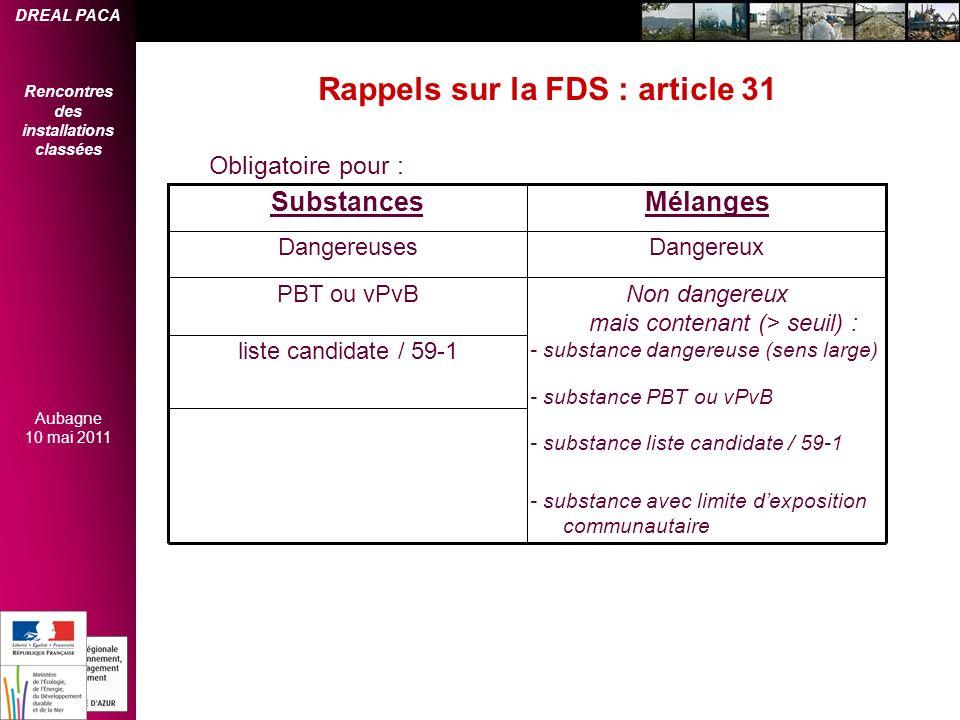 DREAL PACA Rencontres des installations classées Aubagne 10 mai 2011 Rappels sur la FDS : article 31 - substance avec limite dexposition communautaire