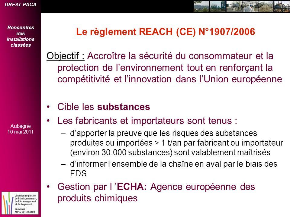 DREAL PACA Rencontres des installations classées Aubagne 10 mai 2011 Le règlement REACH (CE) N°1907/2006 Objectif : Accroître la sécurité du consommat