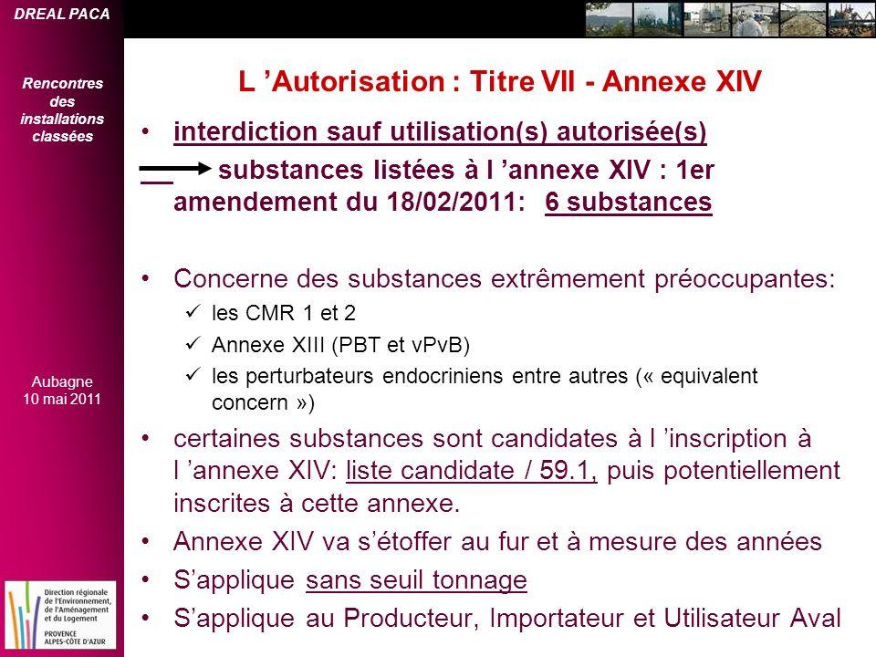 DREAL PACA Rencontres des installations classées Aubagne 10 mai 2011 L Autorisation : Titre VII - Annexe XIV interdiction sauf utilisation(s) autorisé
