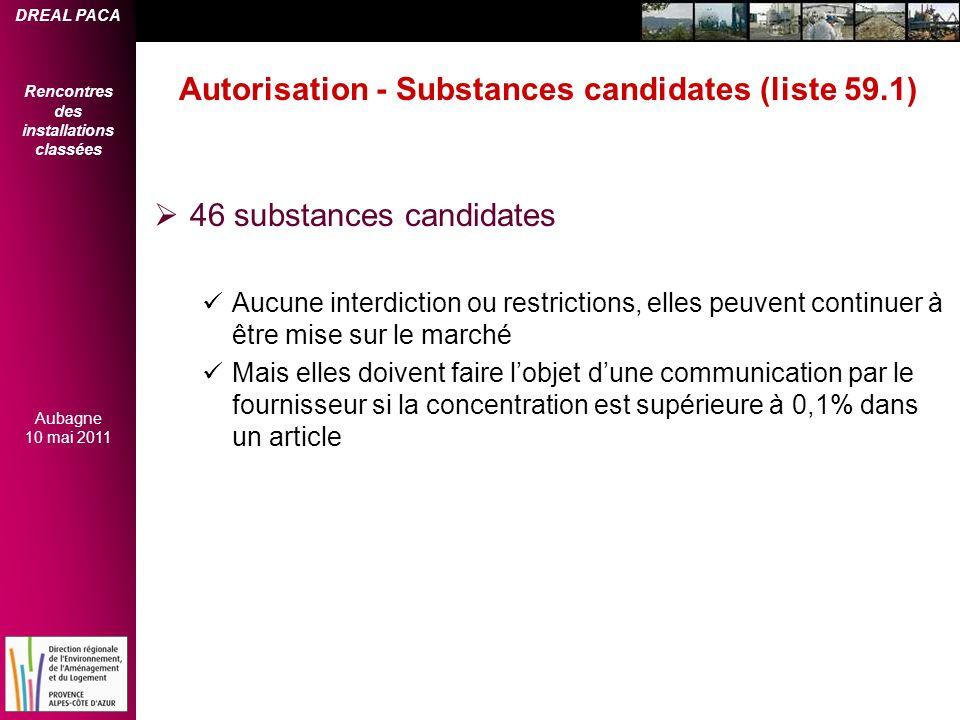 DREAL PACA Rencontres des installations classées Aubagne 10 mai 2011 Autorisation - Substances candidates (liste 59.1) 46 substances candidates Aucune