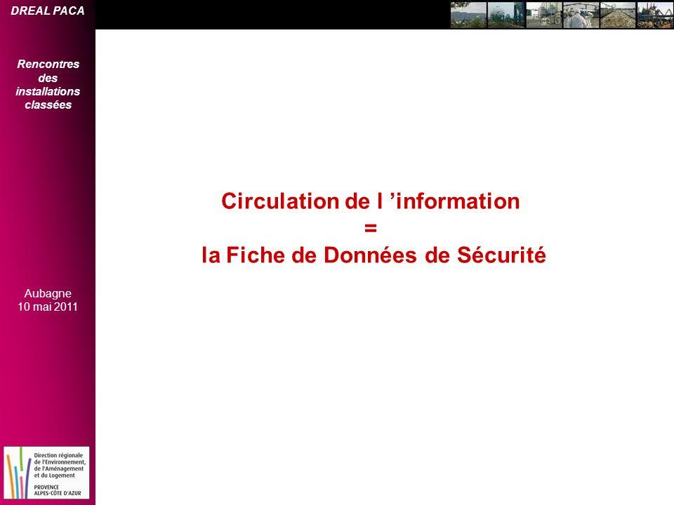 DREAL PACA Rencontres des installations classées Aubagne 10 mai 2011 Circulation de l information = la Fiche de Données de Sécurité