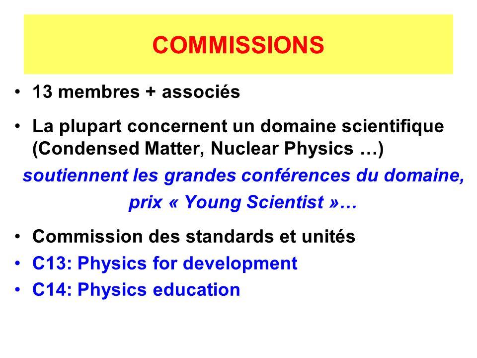 COMMISSIONS 13 membres + associés La plupart concernent un domaine scientifique (Condensed Matter, Nuclear Physics …) soutiennent les grandes conférences du domaine, prix « Young Scientist »… Commission des standards et unités C13: Physics for development C14: Physics education