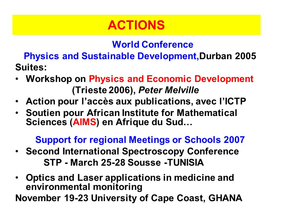 ACTIONS World Conference Physics and Sustainable Development,Durban 2005 Suites: Workshop on Physics and Economic Development (Trieste 2006), Peter Me