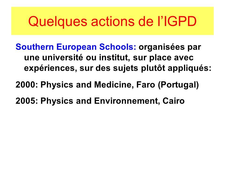 PROJECTS - MESSAGES 1- Coordination entre organisations Réunion IUPAP C13 à Trieste, 1/9/2007, avec: ICTP, CERN, EPS, TWAS… 2- Sciences de base et développement: UNESCO: Programme international pour les Sciences de Base Réseaux, programmes coordonnés Chaire UNESCO de Physique à BIRZEIT(Palestine,2007) NEPAD: AmiNet, réseau de centres pour les Sciences Mathématiques En France: IRD fonction dagence pour le développement, affirmer la place des sciences fondamentales.