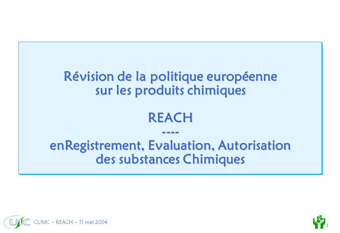 CL/MC – REACH – 11 mai 2004 1 Révision de la politique européenne sur les produits chimiques REACH ---- enRegistrement, Evaluation, Autorisation des substances Chimiques