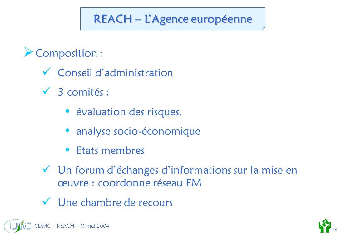 CL/MC – REACH – 11 mai 2004 13 Composition : Conseil dadministration 3 comités : évaluation des risques, analyse socio-économique Etats membres Un forum déchanges dinformations sur la mise en œuvre : coordonne réseau EM Une chambre de recours REACH – LAgence européenne