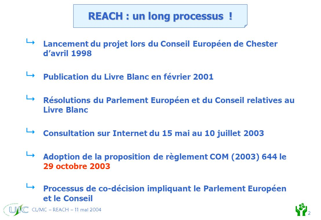 CL/MC – REACH – 11 mai 2004 2 REACH : un long processus .
