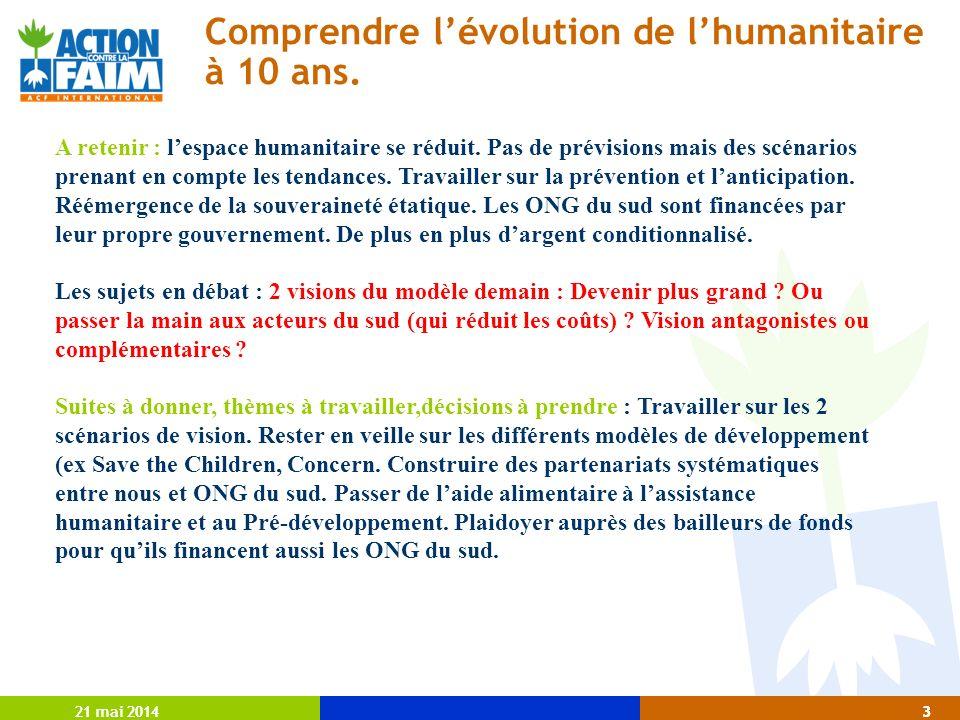 21 mai 20143 3 Comprendre lévolution de lhumanitaire à 10 ans.