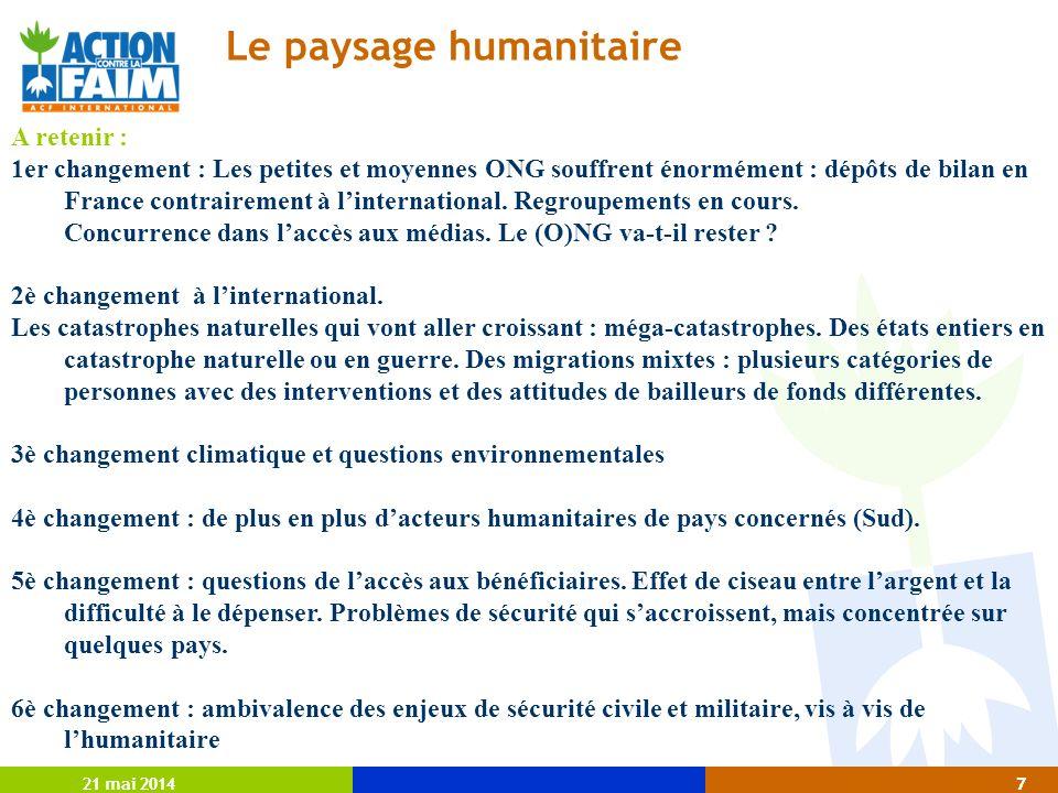 21 mai 20147 7 Le paysage humanitaire A retenir : 1er changement : Les petites et moyennes ONG souffrent énormément : dépôts de bilan en France contrairement à linternational.