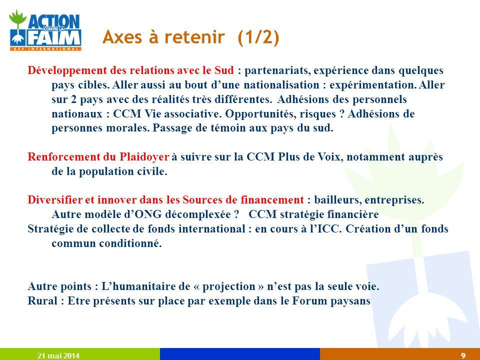 21 mai 20149 9 Axes à retenir (1/2) Développement des relations avec le Sud : partenariats, expérience dans quelques pays cibles.