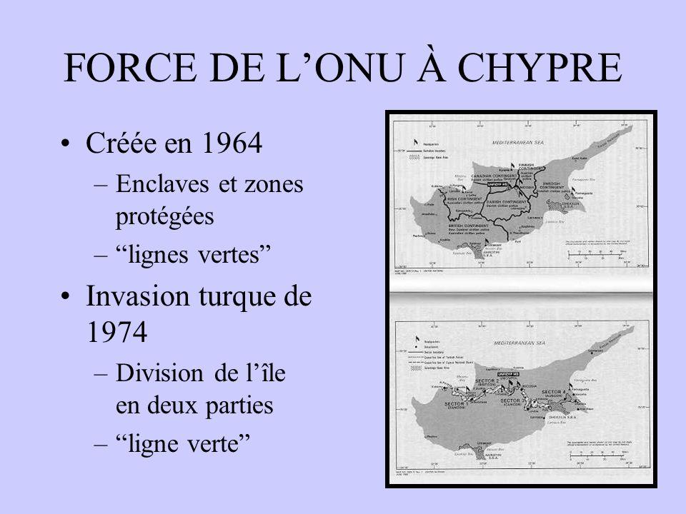 FORCE DE LONU À CHYPRE Créée en 1964 –Enclaves et zones protégées –lignes vertes Invasion turque de 1974 –Division de lîle en deux parties –ligne vert