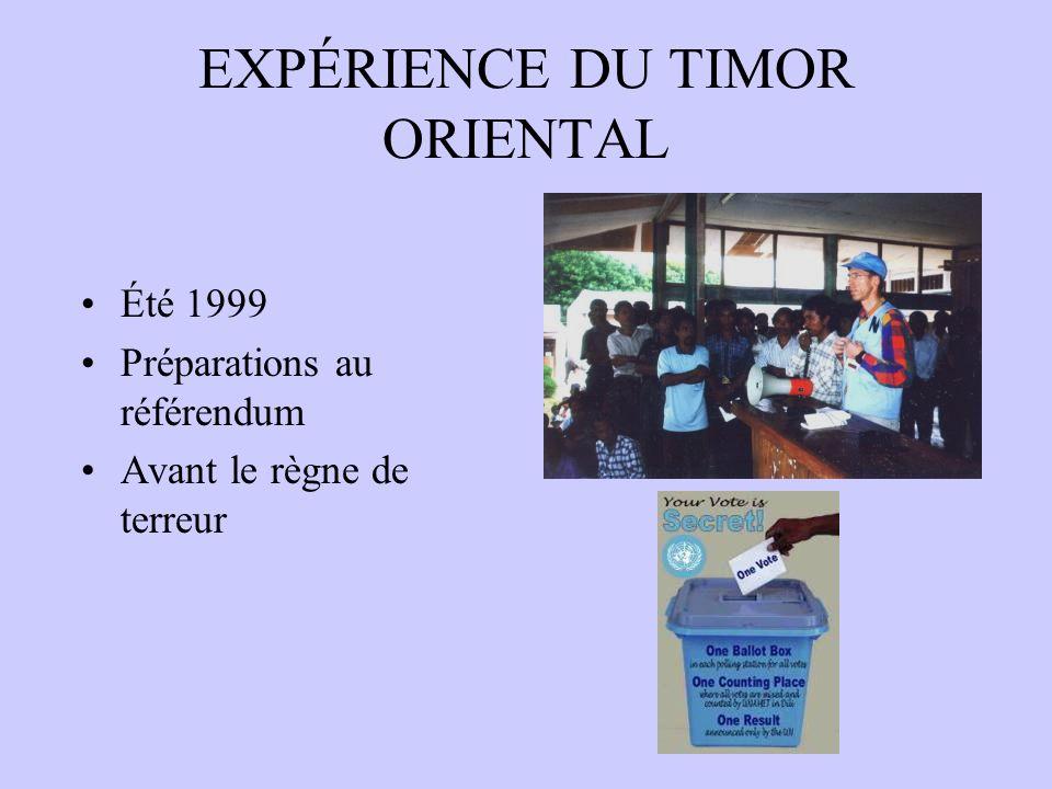 EXPÉRIENCE DU TIMOR ORIENTAL Été 1999 Préparations au référendum Avant le règne de terreur