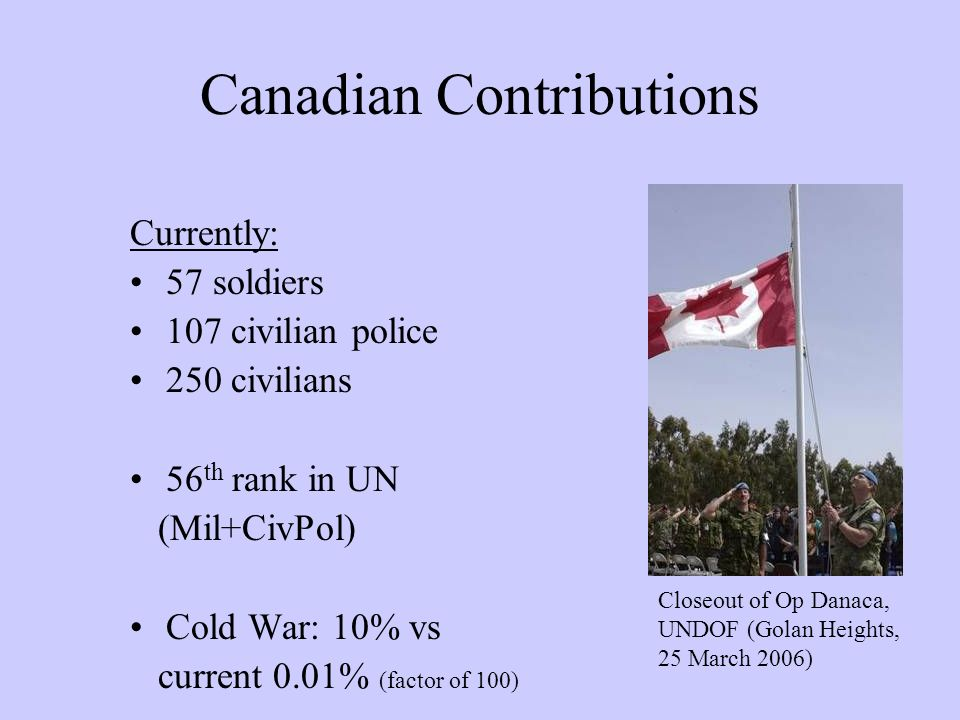 Canadian Contributions Currently: 57 soldiers 107 civilian police 250 civilians 56 th rank in UN (Mil+CivPol) Cold War: 10% vs current 0.01% (factor o