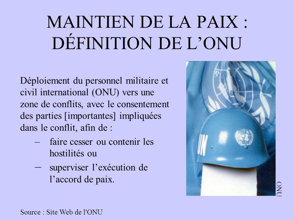 MAINTIEN DE LA PAIX : DÉFINITION DE LONU Déploiement du personnel militaire et civil international (ONU) vers une zone de conflits, avec le consenteme