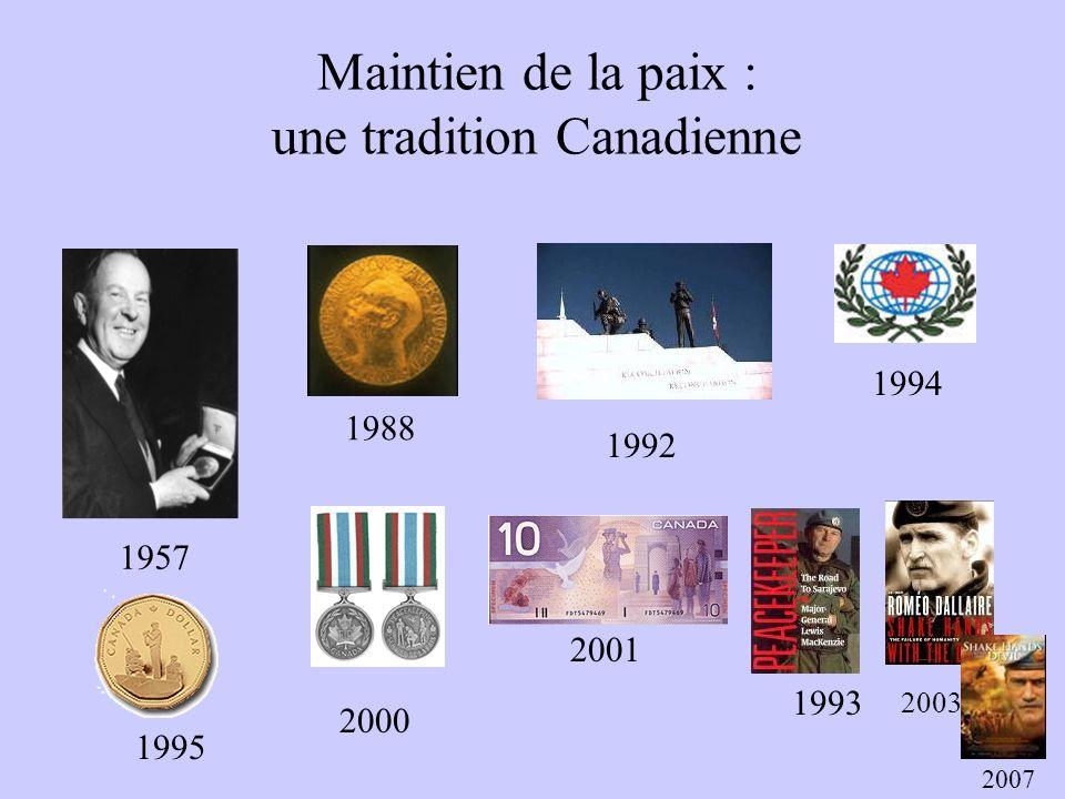 Maintien de la paix : une tradition Canadienne 1957 1988 1992 2000 1995 1994 2001 1993 2003 2007