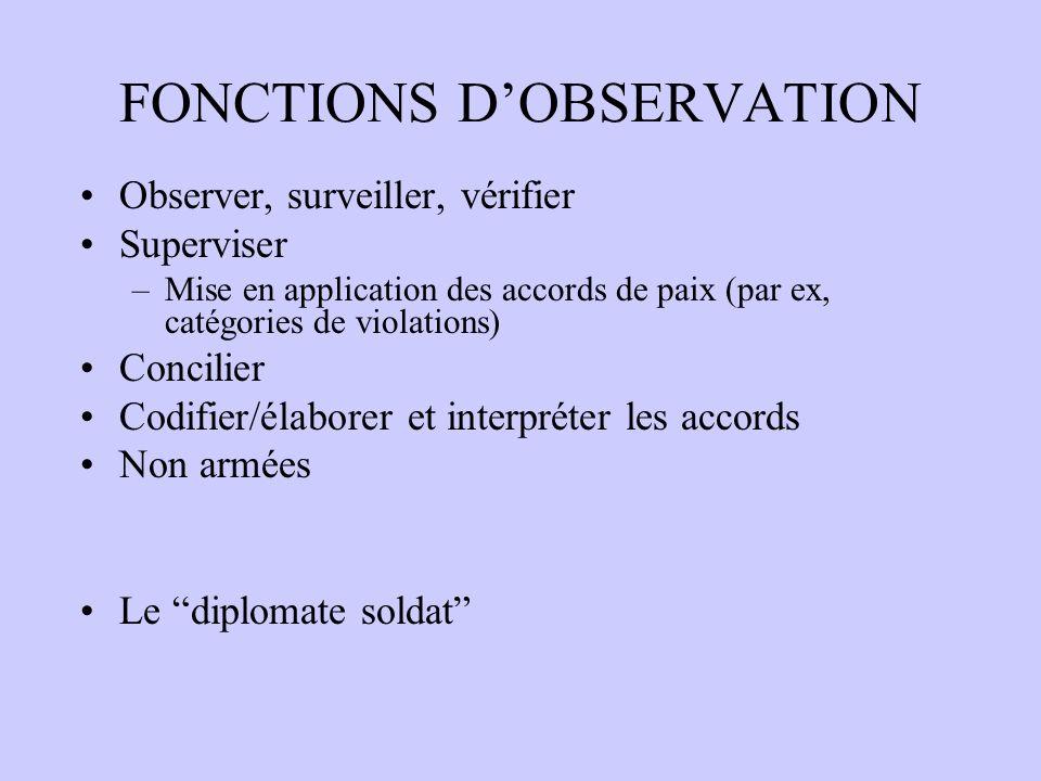 FONCTIONS DOBSERVATION Observer, surveiller, vérifier Superviser –Mise en application des accords de paix (par ex, catégories de violations) Concilier