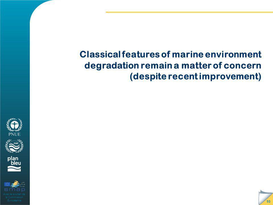 Avec le soutien de la Commission Européenne Classical features of marine environment degradation remain a matter of concern (despite recent improvemen